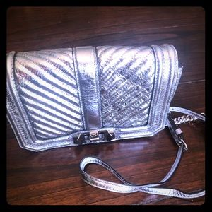 New Rebecca Minkoff Silver Quilted Crossbody Bag